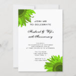 Green Pop Art Sunflower Wedding Anniversary Party Invitation