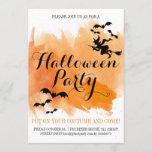 Halloween bats and witch modern watercolor invitation