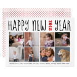 Happy New Year bold typography eight photo collage Card