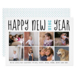 Happy New Year typography eight photo collage aqua Card