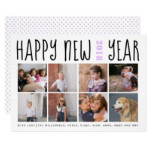 Happy New Year typography photo collage lavender Card