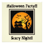Haunted House Halloween Party Invitation ecru