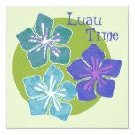 Hawaiian Flowers Luau Time Invitation