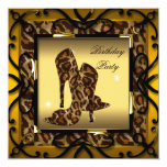 High Heel Shoes Wild Gold Leopard Birthday Party Invitation