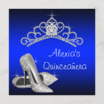 High Heels Tiara Royal Blue Quinceanera Invitation