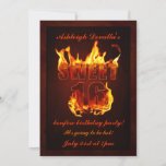 Hot Fire Sweet 16 Bonfire Party Invitation