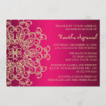 Hot Pink and Gold Indian Inspired Bridal Shower Invitation