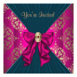 Hot Pink Gold Damask Black Tie Party Card