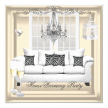 HouseWarming Cream White Champagne Chandelier Invitation