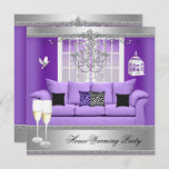 HouseWarming Party Champagne Chandelier Sofa Invitation