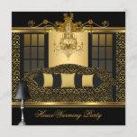 Housewarming Party Chandelier Damask Gold Black Invitation
