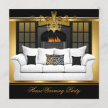 Housewarming Party Chandelier Gold Black Invitation
