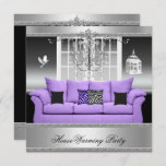 HouseWarming Party Chandelier Purple Silver White Invitation