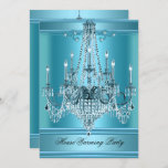 HouseWarming Party Chandelier Rich Teal Blue Invitation
