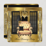 Housewarming Party Damask Chandelier Gold Chair Invitation
