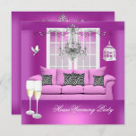 HouseWarming Pink Champagne Chandelier Sofa Invitation