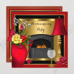 Housewarming Red Gold Roses Decor Wine Glass Invitation