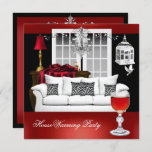 HouseWarming Red White Black Chandelier Invitation