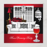 HouseWarming Red White Black Chandelier RED Invitation