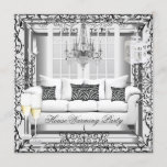 HouseWarming Silver White Champagne Chandelier Invitation