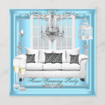 HouseWarming Teal Blue White Champagne Chandelier Invitation