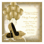 Ivory Cream and Gold Glitter Womans Birthday Party Card