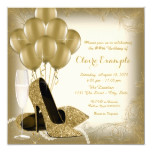 Ivory Cream and Gold Glitter Womans Birthday Party Invitation