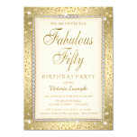 Ivory Gold Diamond Fabulous 50 Birthday Invitation