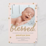 Just Blessed Birth Announcement - Pink