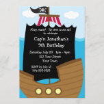 Kids Pirate Ship Birthday Party Invitation