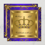 King or Queen Royal Blue Gold Birthday Party 2 Invitation