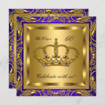 King or Queen Royal Blue Gold Birthday Party Invitation