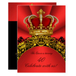 King Queen Gold Royal Regal Red Birthday Party 2 Card