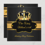 King Queen Royal Black Gold Birthday Men or Women Invitation