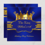 King Royal Blue Gold Birthday Party Mens Mans Invitation