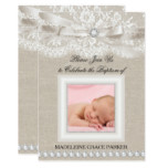 Lace & Burlap Photo Baptism/Christening Invitation