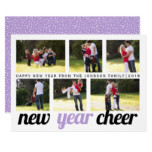 Lavender, black New Year Cheer six photo collage Card