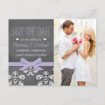 Lavender Chalkboard Lace Bow Save the Date Announcement Postcard