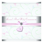 Lavender Pink Heart Pink Cross First Communion Card