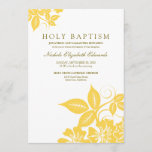 Lemon Yellow Floral Holy Baptism Invitation