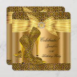 Leopard High Heels Shoes Gold Birthday Party Invitation