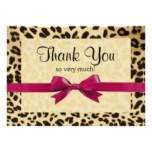 Leopard Print Bright Pink Bow Thank You Note Card