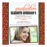 Leopard Print Graduation Announcement (orange)