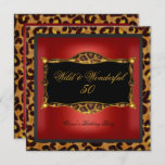 Leopard Red Gold Black Birthday Party Wild 50 Invitation