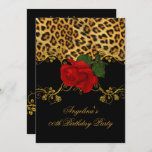 Leopard Roses Red Black Gold Birthday Party 2 Invitation