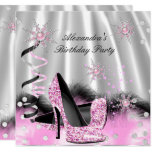 Light Pink High Heels Silver Birthday Party Invitation