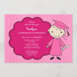 Little Girl Grad Graduation Invitation Pink