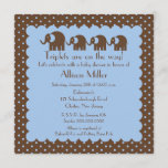 Mama & Triplet Baby Elephants Boy Baby Shower Invitation