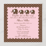 Mama & triplet Girls Baby Elephant Baby Shower Invitation