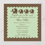Mama & Triplets Elephant Baby Shower Invitation